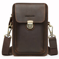 Men's Genuine Leather Waist Fanny Bags Chest Shoulder Bag Crossbody Satchel Pack
