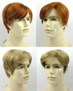 MALE MENS SHORT STRAIGHT HAIR COSTUME WIG DONALD TRUMP IRISH RED AUBURN BLOND