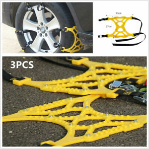 3x Car Tire Anti-skid Mud Snow Chains Thickened Beef Tendon For Wheel 165-275mm