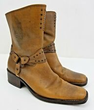 Harley Davidson Brown Leather Women's Motorcycle Boots Sz 8.5