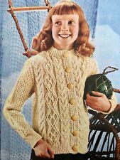 FK304a - Knitting Pattern - Children's Aran Cardigan - 3-ply Bainin