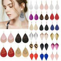 Boho Women Leaf Teardrop Leather Earrings Ear Hook Drop Dangle Fashion Jewelry