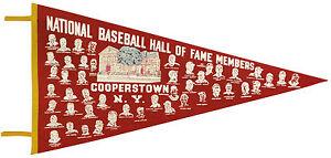 1973-74 Baseball Hall of Fame Oversized  Pennant, 35.5 x 18  w/Player Headshots