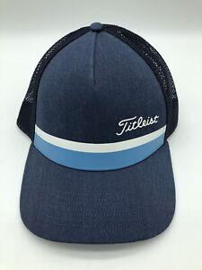 Titleist Golf Hat Blue White Trucker Mesh Snap Back Cap Stripe EUC Green Links