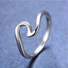 Fashion 925 Silver Simple Dainty Thin Wave Ring Beach Sea Surfer Island Jewelry