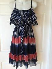 New_Boho Printed Chiffon Popover Top Overlay Tiered Dress_Size S_Beautiful!