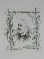 Acqua Forte Originale Frederic Regamey Ritratto Victor Hugo 1870