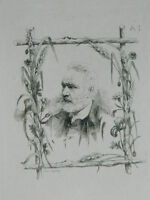Agua Fuerte Original Frederic Regamey Retrato Victor Hugo 1870