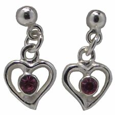 Pair of HEART EARRINGS PINK AUSTRIAN CRYSTAL and 925 Sterling SILVER 11mm Drop