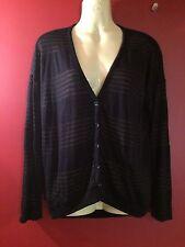 SPLENDID Women's Black/Tan Striped Cardigan Sweater - Size Medium - NWT