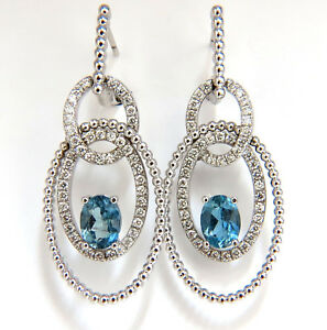3.52ct natural blue aquamarine diamonds dangle earrings 14kt dangle Loops