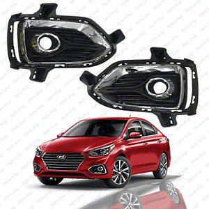 For 2018 2019 Hyundai Accent Front Left Right Side Fog Bezel Covers 2pc Chrome