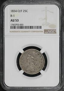 1834 O/F Capped Bust Quarter B-1 NGC AU-53
