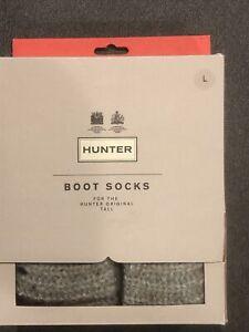 Hunter Boot Socks for The Hunter Original Tall, Slate, Size Large New In Box