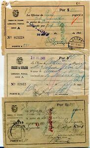 Ecuador 15 used postal money orders - see scans