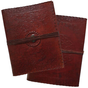 """13"""" Real Leather Handmade Vintage Photo Album Floral Embossed Green Stone 2nd's"""