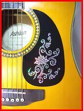 Guitarra Acústica Pickguard/Scratchplate Auto-Adhesivo Plata Flor DESIGN