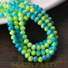 New 50pcs 6mm Glass With Color Coated Rondelle Loose Beads Yellow&Lake Blue