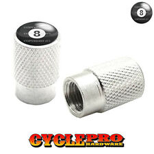 2 Silver Billet Knurled Tire Valve Cap Motorcycle - 8 BALL - 015