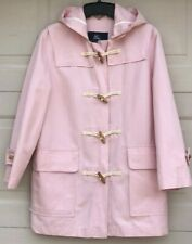 FAB BURBERRY PINK SUMMER DUFFLE TOGGLE HOODED COAT TRENCH 8 10 NOVA CHECK LINEN