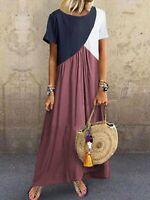 Plus Size Womens Boho Short Sleeve Baggy Kaftan Ladies Summer Long Maxi Dresses