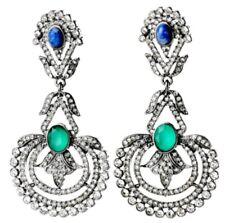 SAPPHIRE BLUE EMERALD GREEN Crystal Rhinestone Silver Chandelier Drop Earrings