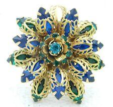 Vintage Gold Tone Filigree Green Blue Rhinestone Flower Converted Pendant