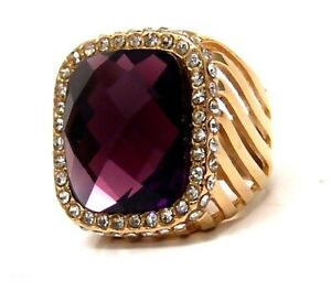 Amethyst color Ring Yellow Gold PVD Hypoallergenic Surgical Steel Bold