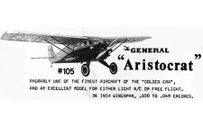 "Model Airplane Plans (FF-RC): General Aristocrat 1/12 Scale 36"" .020 (Flyline)"