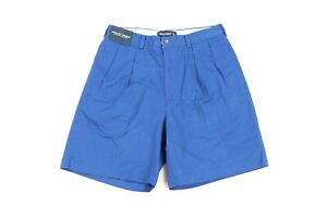 New Polo Golf Ralph Lauren Mens 34 Spell Out Crest Patch Pleated Shorts Blue