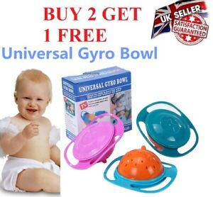 Baby Kids Feeding Magic Bowl 360 Rotating Gyro Bowl Universal Spill-Proof Bowl
