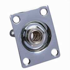 Chrome Guitar Square Output Jack Plate Socket for Electric Parts Replacement