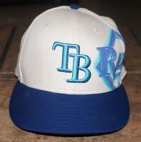 TAMPA BAY RAYS NEW ERA 59FIFTY FITTED BASEBALL CAP White Blue 7 1/4 Genuine MLB