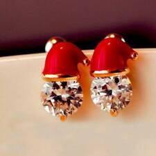 Stud Earrings Party Jewelry 1 Pair Crystal Santa Hat Christmas Earrings Novelty