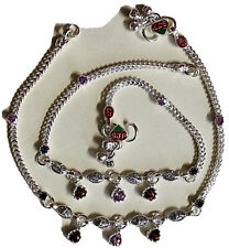 New PAIR STERLING SILVER payal PINK GARNET crystals BELL ANKLET BOLLYWOOD INDIA