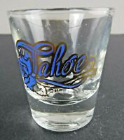 Vintage Tahoe Blue Gold Rose Logo Design Shot Glass Barware Souvenir 2.25""