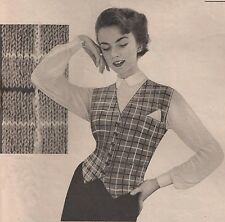 Knitting Pattern 1950s Ladies & Mens Waistcoats Sizes 32 to 46 Inch Bust/Chest.