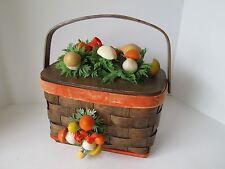 Vintage 3D Mellow Mushroom Orange Yellow Wood Purse Sewing Weaved Basket Retro