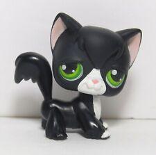 New #55 Black Tuxedo Long Hair Angora Cat Green Eyes Littlest Pet Shop