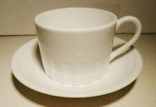 WEDGWOOD COLOSSEUM WHITEware Flat  CUP & SAUCER-BONE CHINA ~Excellent~ENGLAND