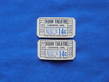 Vintage 14 Cent Kuhn Theatre Tickets (Lot of 2) Drive In Movie/Cinema - OR