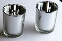 25* Silver 6cm Cup Glass Wedding Anniversary Party Tealight votive candle holder