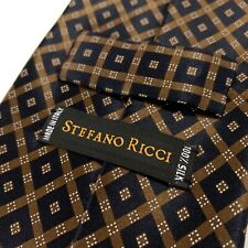 New Stefano Ricci Jacquard Silk Neck Tie Black Brown Neat Geometric Diamond NWOT
