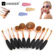 10Pcs Beauty Makeup Brushes set Shaped Oval Cream Puff pinsel Rose-Gold+GIft Box