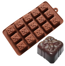 15 Holes Bowknot Gift Box Shaped Chocolate Silicone Cake Mold Candy DIY Tools