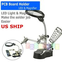 Helping Hand Clamp LED Magnifying Glass Soldering Iron Stand Len Magnifier Tools