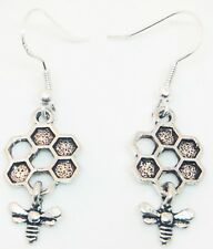 ANTIQUE SILVER HONEY BEE & HIVE EARRINGS ON STERLING SILVER HOOKS FREE GIFT BAG