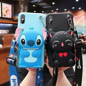 3D Cute Cartoon Crossbody Coin Purse Soft Silicone Phone Case For Various Covers