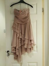 LIPSY WOMENS  BANDEAU PLEATED DIPP PARTY DRESS UK 10 NUDE NEW WITH TAGS