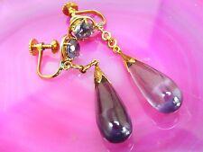 14k Antique 1920's Art Nouveau Purple Art Glass EARRINGS Screw .585 Tear Drop